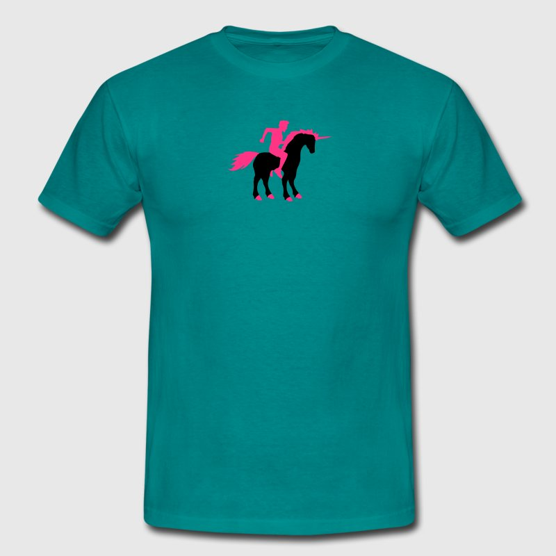 ride riding young man guy gay gay unicorn pink hor - Men's T-Shirt