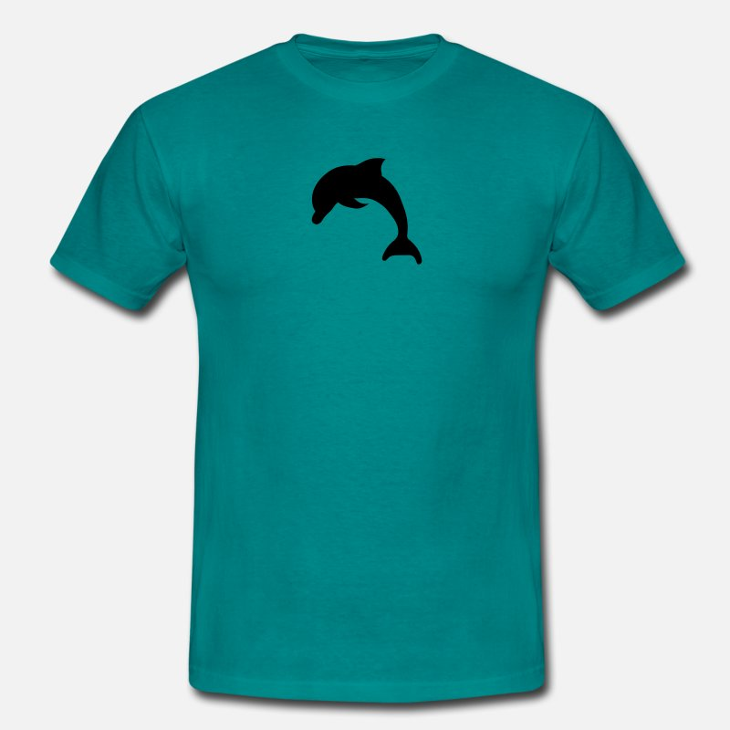 Dolphin T-Shirts - Silhouette outlined black jumping small delfin cut - Men's T-Shirt diva blue