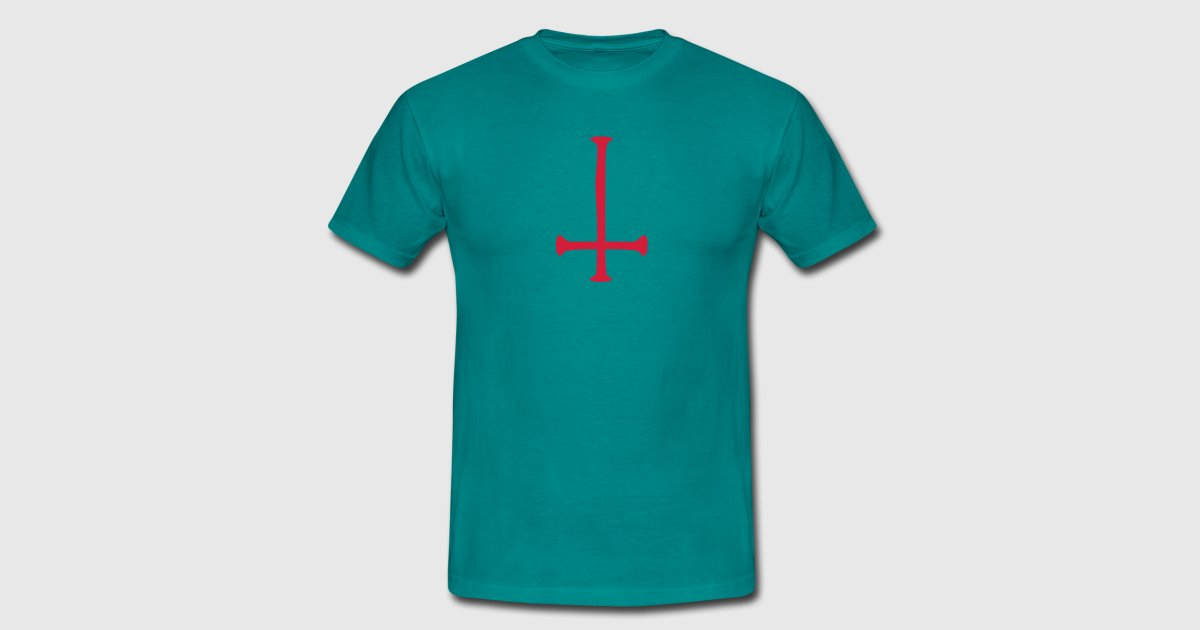 Satan Text Cross Evil Logo Reversed By Style O Mat Shirts Spreadshirt