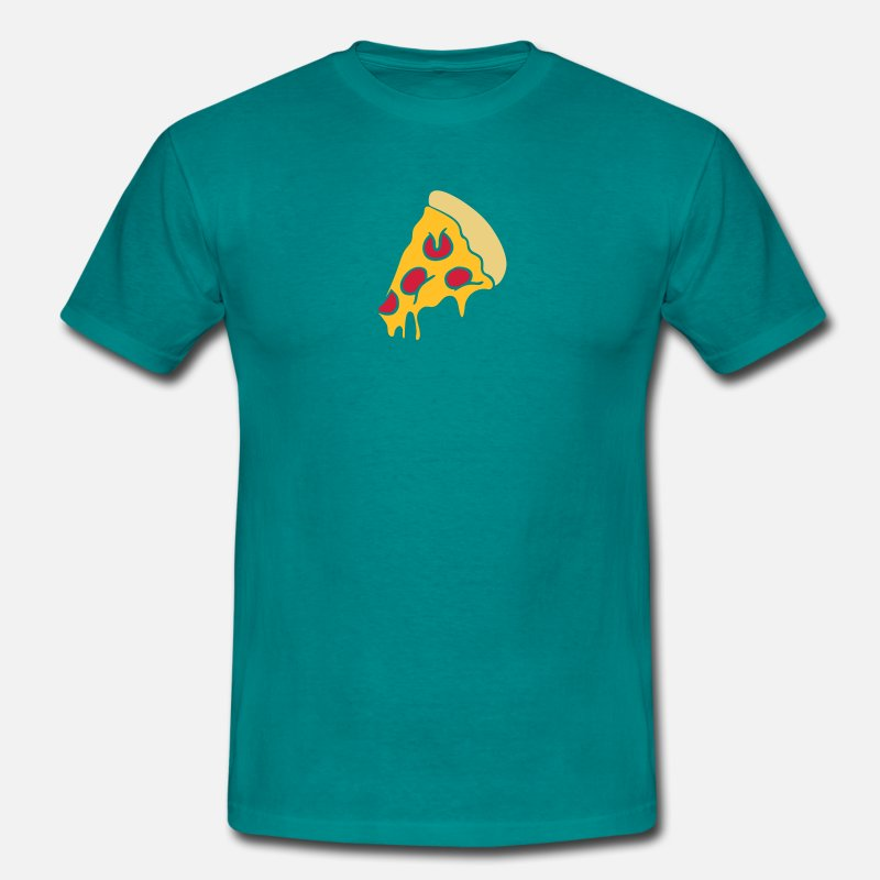 Food T-Shirts - pizza dripping cheese salami piece design - Men's T-Shirt diva blue