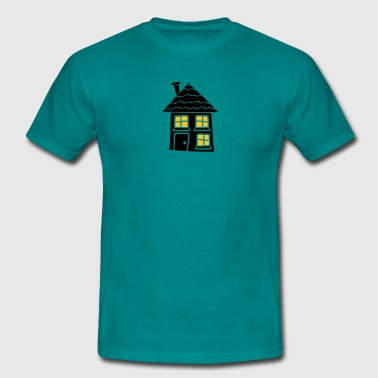night light window dark black sweet little cottage - Men's T-Shirt