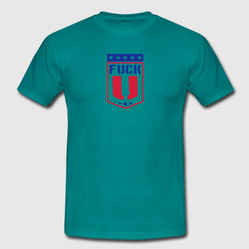 Usa coat of arms banner logo design cool letters f - Men's T-Shirt