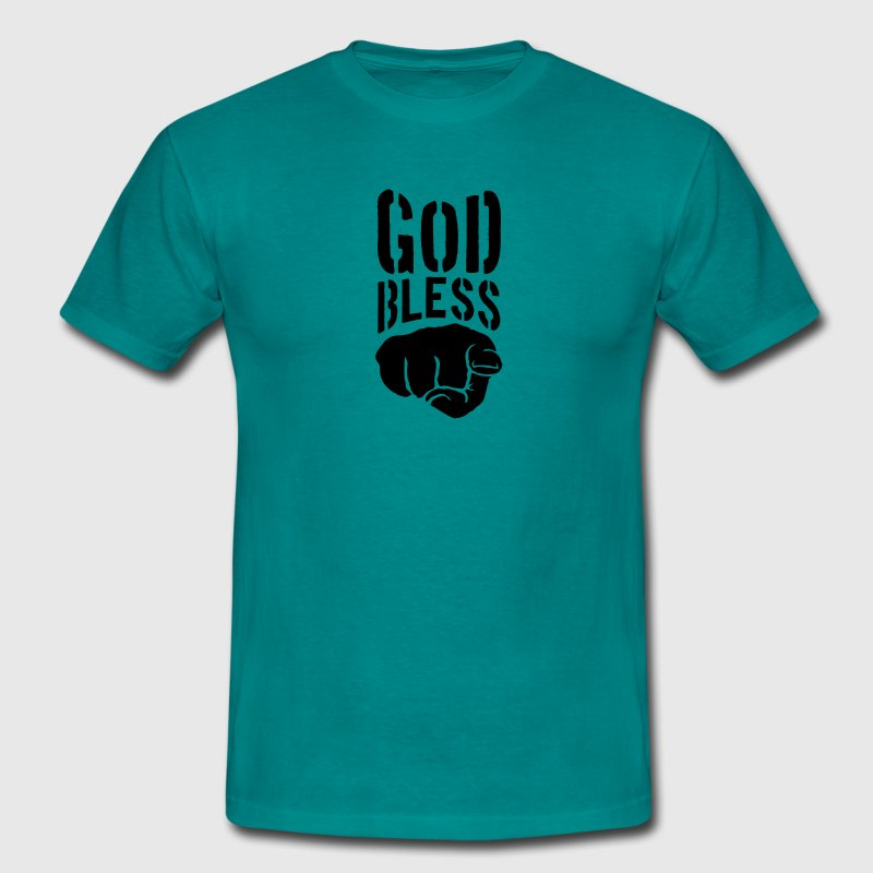 God bless you finger show hand funny god jesus log - Men's T-Shirt