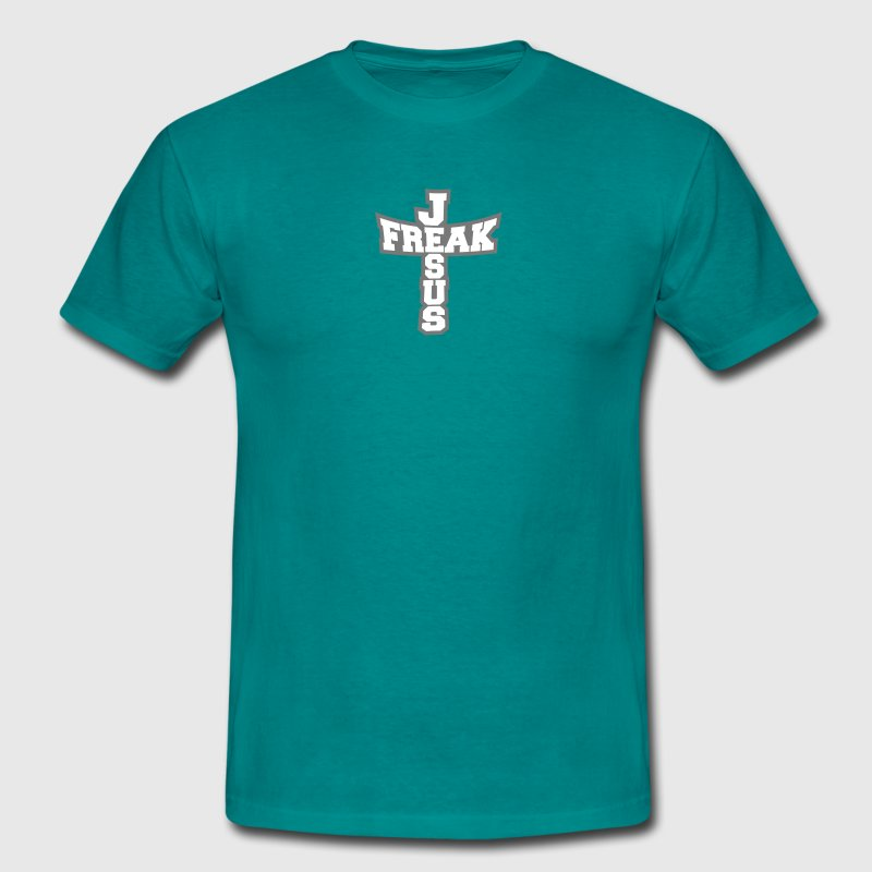 Gray form freak text lettering jesus cross life fa - Men's T-Shirt