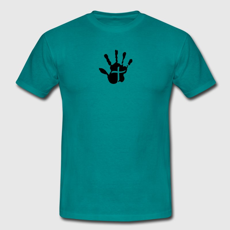 Cross handprint jesus logo symbol design christ fa - Men's T-Shirt