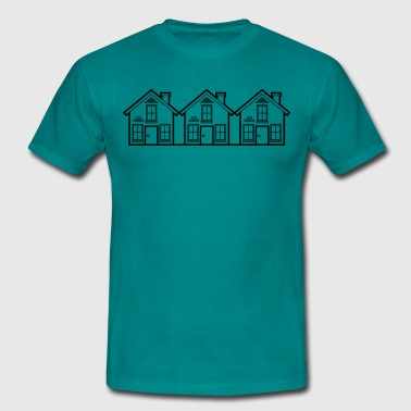 neighbors semidetached house idyllic fence garden  - Men's T-Shirt