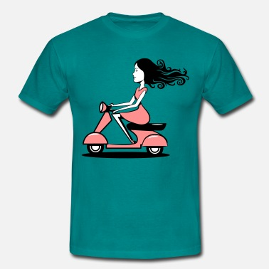 Driving Licence Scooter driving woman girl - Men's T-Shirt