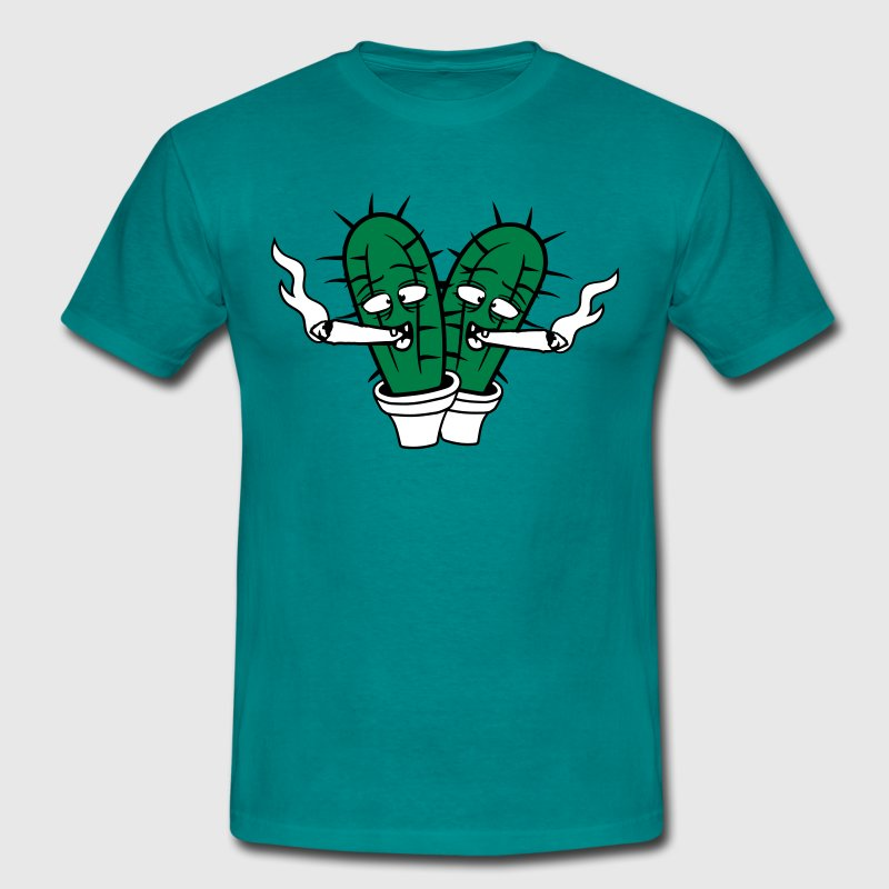 2 friends team cactus pothead weed joint drug smok - Men's T-Shirt