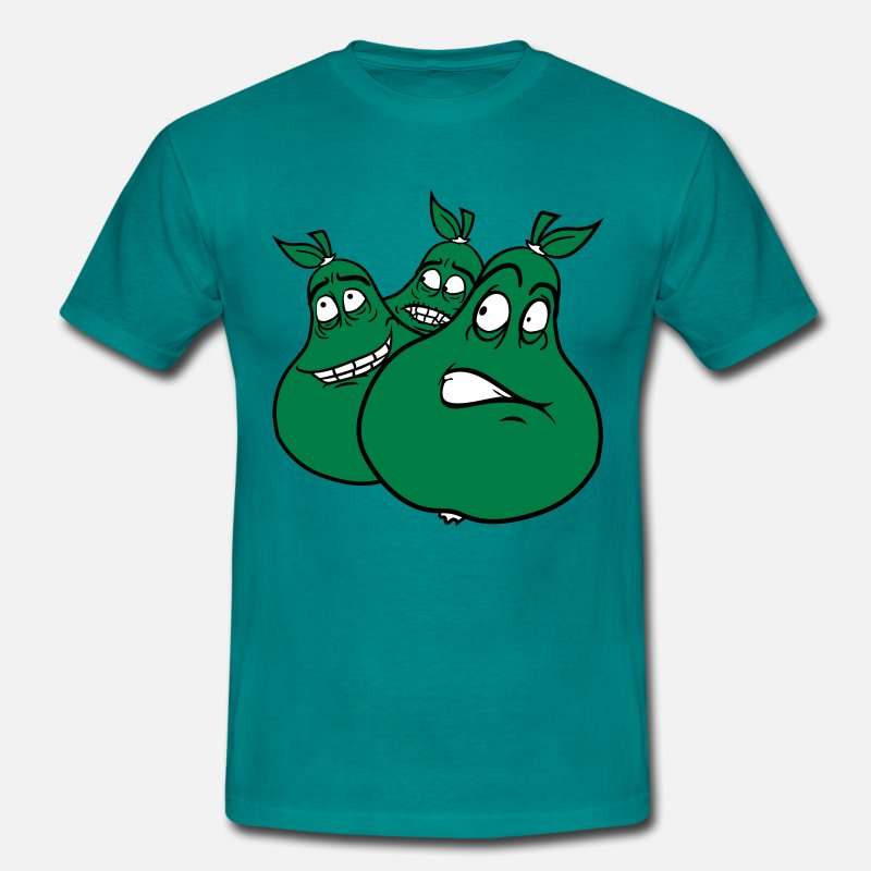 Fruit T-Shirts - 3 comic cartoon gezichten veel peer-group team fun - Mannen T-shirt divablauw