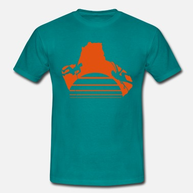 Orange Man climbing cave man woman Sun orange lines - Men's T-Shirt