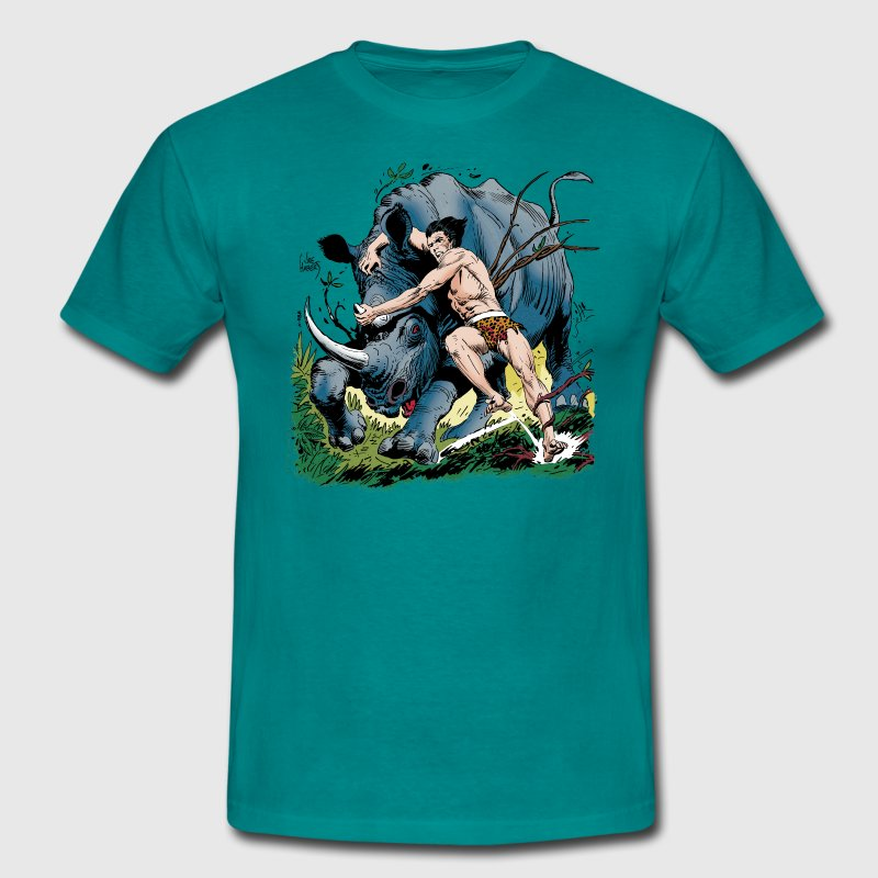 Tarzan fighting with a rhino - Herre-T-shirt