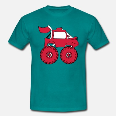 Monstertruck monstertruck komiska ögon ansikte tecknad bilar - T-shirt herr