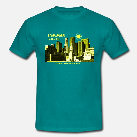 Amerika T-Shirts - Summer in the City Los Angeles USA - Männer T-Shirt Divablau