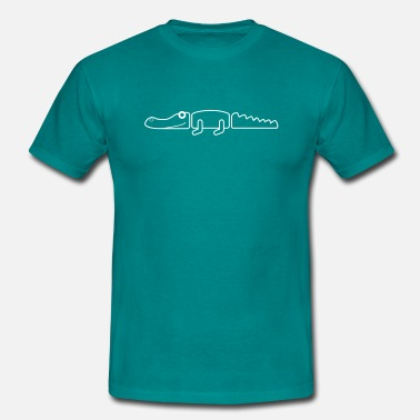 Crocodile Vector Crocodile simple outline - Men's T-Shirt