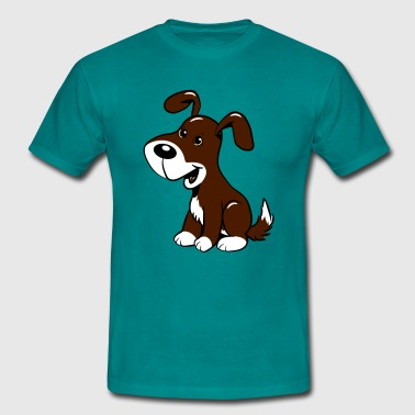 Dog baby cute sits dearly - Men's T-Shirt