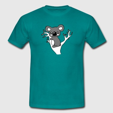 sweet little cute koala climbs tree eucalyptus tre - Men's T-Shirt