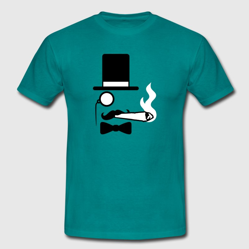 Gentleman mustache monocle beard cylindrical glass - Men's T-Shirt