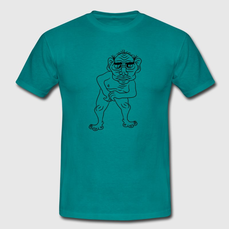 naked ugly disgusting old man grandpa monster trol - Men's T-Shirt