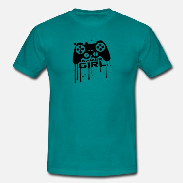 Controller-graffiti-gamer Gamer girl girls women female graffiti controller  - Men's T-Shirt
