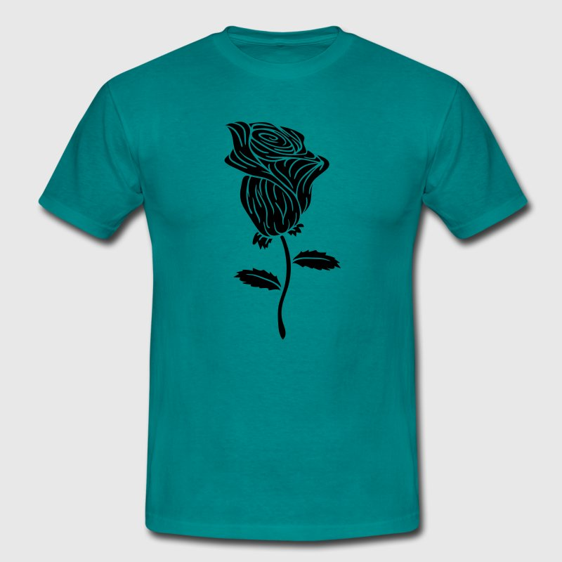 tribal tattoo design black rose thorns red spring  - Men's T-Shirt