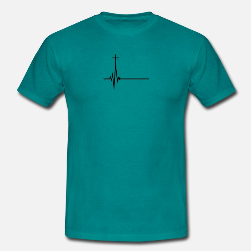 Jesus T-Shirts - Pulse frequency life pulse beat heart beat jesus c - Men's T-Shirt diva blue