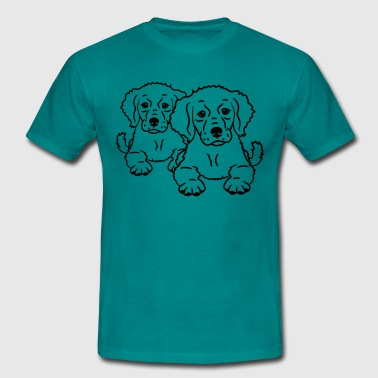 team friends 2 cute dogs - Men's T-Shirt