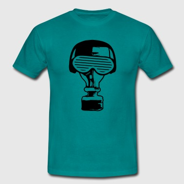 party music in headphones glasses funky gas mask c - Men's T-Shirt