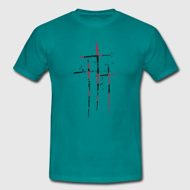 3 crosses design pattern scratch cool old tears br - Men's T-Shirt