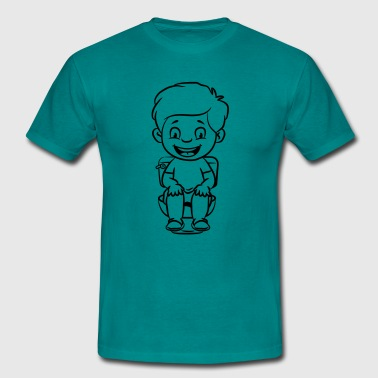 wc loo little boy sitting joy - Men's T-Shirt