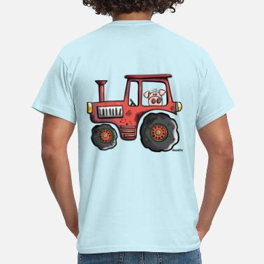 Driving Tractor Pig driving a tractor - Men's T-Shirt