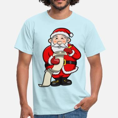 Belt Buckle Santa Claus making a naughty and nice list  - Men's T-Shirt