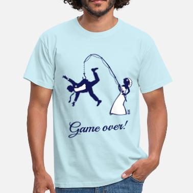 Bride And Groom Game Over (Bride Fishing Husband) - Men's T-Shirt