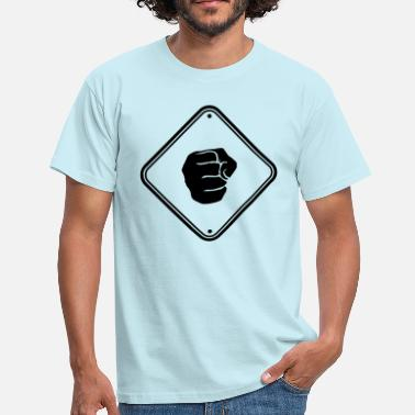 Agressif attention battant signe alerte alerte zone huit - T-shirt Homme