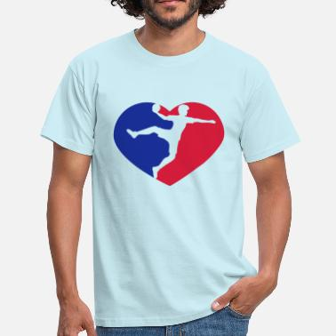 Red Ball red blue love heart silhouette outline handball bal - Men's T-Shirt