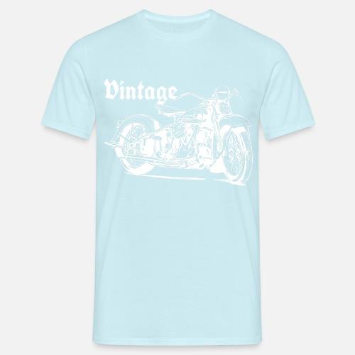Vintage moottoripyörän valkoinen - Miesten t-paita. Takaa. Takaa.  Grafiikka. Edestä b6caa7ce47