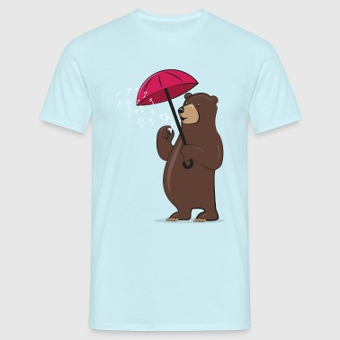 Bear With Dandelion And Umbrella - Men's T-Shirt