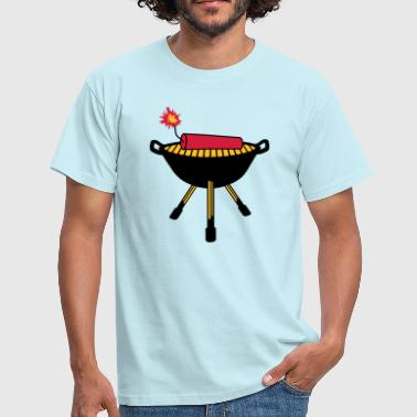 rod barbecue sausage chef cook eat hunger fire - Men's T-Shirt