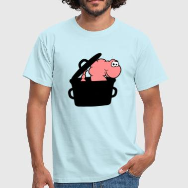 Cooking Pot pot worm cooking kitchen chef cook grilling roast l - Men's T-Shirt