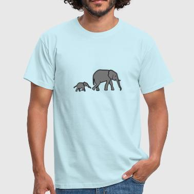 Elephant mother and baby - Men's T-Shirt
