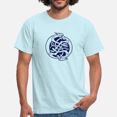 Celtic Knotwork Two Celtic Beasts - Men's T-Shirt