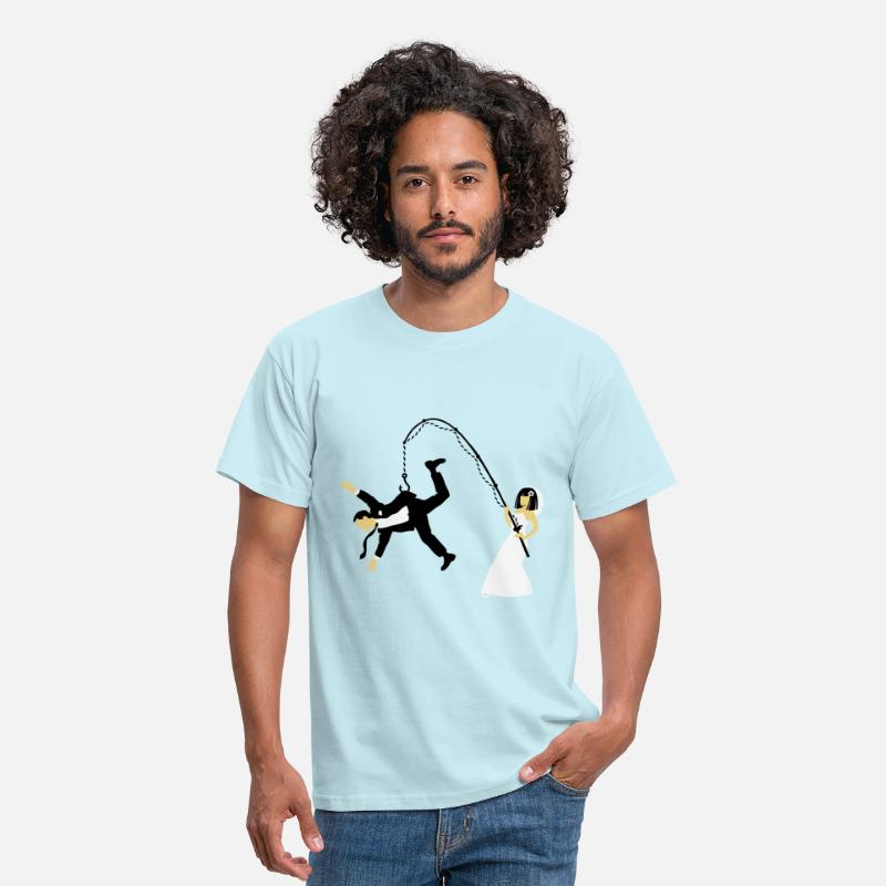 Party T-Shirts - Bride Fishing A Husband (Stag Hen Party / PNG) - Men's T-Shirt sky
