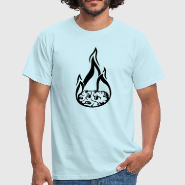 Flames hot fire flames burn cookie flat biscuit scho - Men's T-Shirt