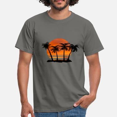 Sunset Circle Sunset Palm Trees - Men's T-Shirt