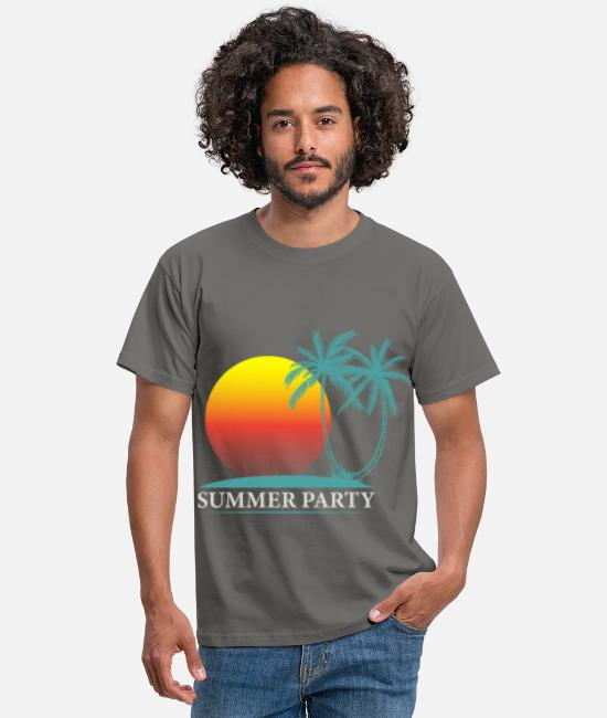 Lets Have A Party T-Shirts - Summer party palm sun - Men's T-Shirt graphite grey