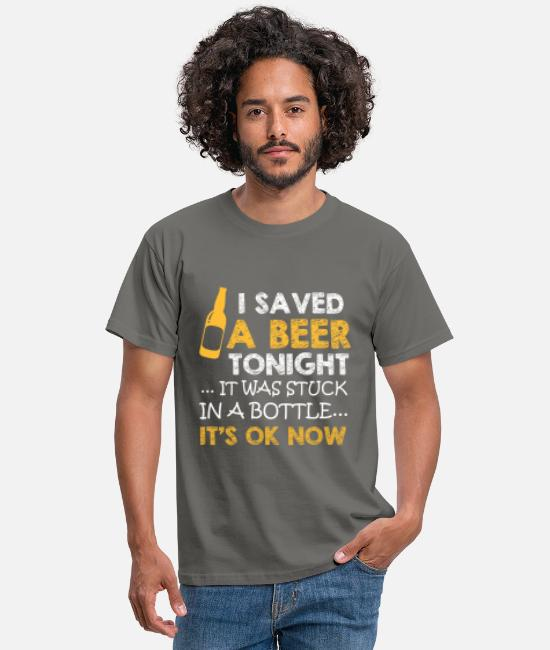 Festival T-Shirts - I save a beer it is stuck in a bottle - Men's T-Shirt graphite grey