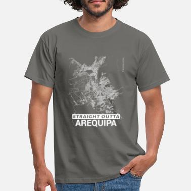 Arequipa Straight Outta Arequipa city map and streets - Men's T-Shirt