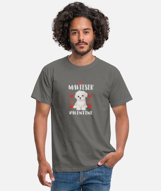 Heart T-Shirts - Sweet Maltese White Puppy for Valentine's Day - Men's T-Shirt graphite grey