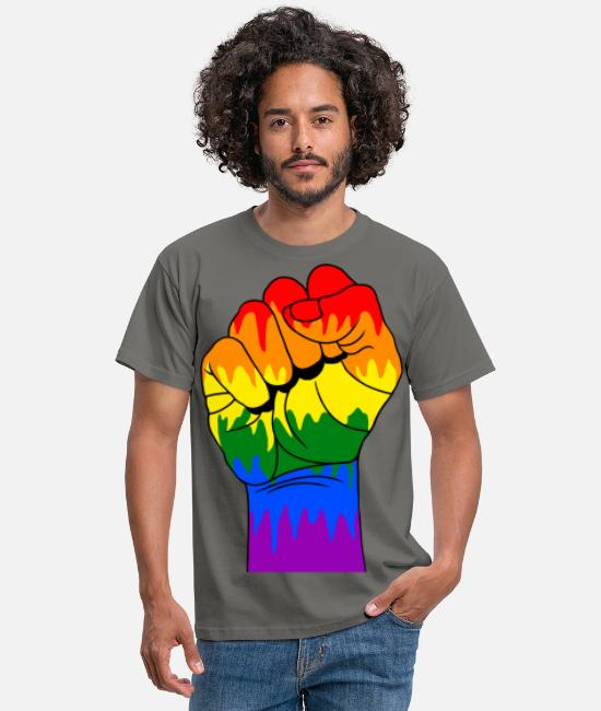 Antifa T-shirts - Gay fisting - T-shirt mænd grafitgrå