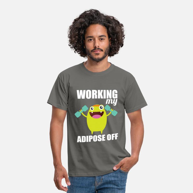 Workout T-shirt T-Shirts - Working my adipose off - Men's T-Shirt graphite grey
