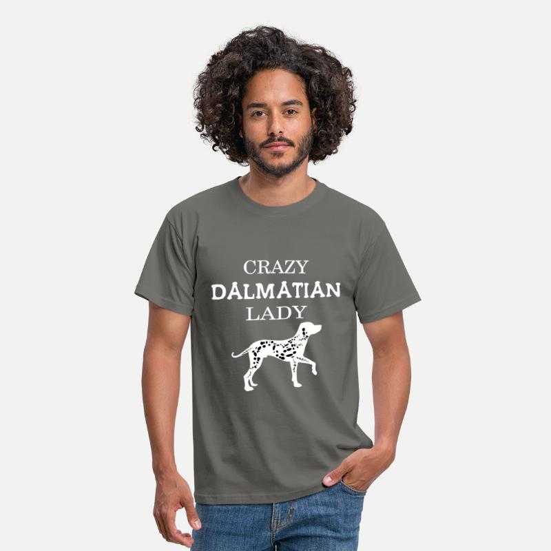 Dalmatian T-shirt T-Shirts - Dalmatian - Crazy Dalmatian Lady - Men's T-Shirt graphite grey
